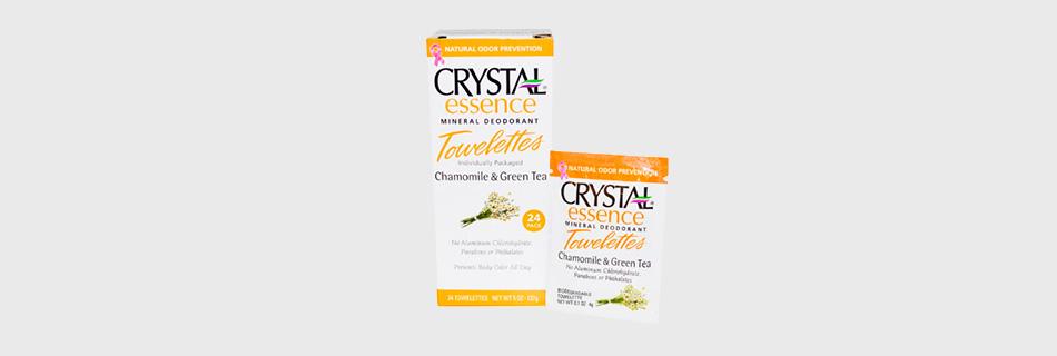 Фото: дезодорирующие минеральные влажные салфетки Crystal Essence Mineral устранят неприятный запах на целый день